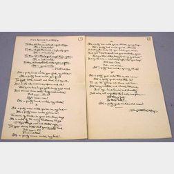 Riley, James Whitcomb (1849-1916) Autograph Manuscript Poem