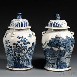 Two Blue and White Jars with Covers