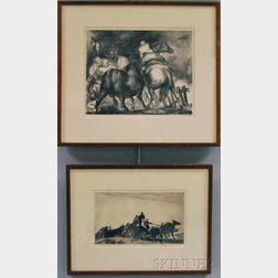 Two Framed Prints Acquired from Associated American Artists Gallery:      Gifford Beal (American, 1879-1956), The New Wagon