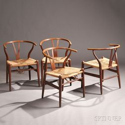 Four Hans Wegner (1914-2007) Wishbone Chairs