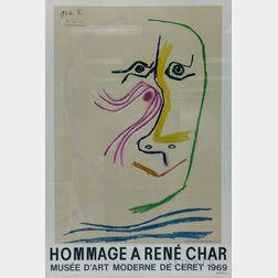 After Pablo Picasso (Spanish, 1881-1973)      Exhibition Poster from Musée d'Art Moderne de Céret: Homage à René Char