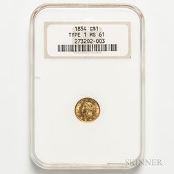 1854 Gold Dollar, NGC MS61.     Estimate $150-250