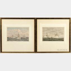 Cozzens, Frederic Schiller (1846-1928) Steamships, Six Chromolithographs.