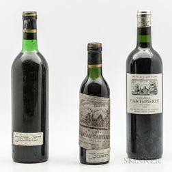 Chateau Cantemerle, 2 bottles 1 demi bottle