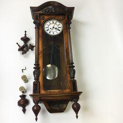 Vienna Carved Walnut Regulator Wall Clock