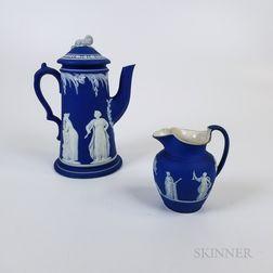 Wedgwood Dark Blue Jasper Jug and Coffeepot