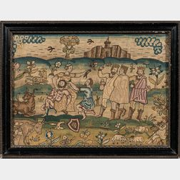 """Early English """"Sampson and Delilah"""" Needlework Picture"""