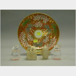 Pair of Chinese Rock Crystal Foo Dog Seals, a Miniature Agate Covered Urn, Stone Seal and an English Palm Decorated Porcelain Plate.