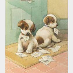British School, 20th Century  Naughty Puppies
