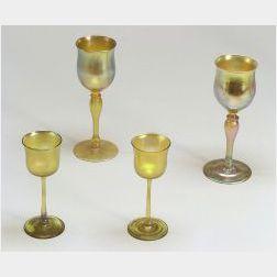 Twenty-one Pieces of Tiffany Glass Stemware