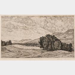 Lot of Two Landscapes:      Luigi Lucioni (Italian/American, 1900-1988), Vermont Hills