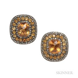 Gold, Silver, Citrine, and Diamond Earclips