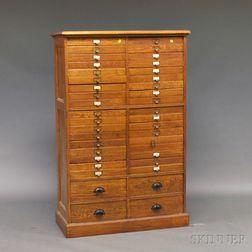 Oak Forty-drawer File Cabinet