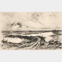 Thomas Moran (American, 1837-1926)      Sunrise - The Pond, Easthampton, L.I.