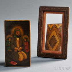 Polychrome and Lacquered Mirror Case with Miniature Portrait