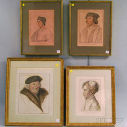 After Francesco Bartolozzi (Italian, 1727-1815)      Four In His Majesty's Collection   Portrait Engravings: