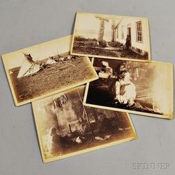 Four Large Cabinet Cards of American Indians