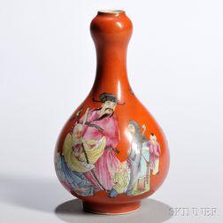 Small Red-glazed Enameled Bottle Vase