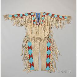 Blackfeet Chief's Beaded Hide Shirt and Leggings
