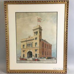 American School, 20th Century      Architectural Watercolor Rendering