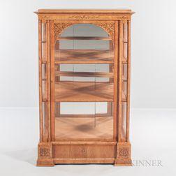 Biedermeier-style Beechwood and Burlwood-veneered Floor Vitrine
