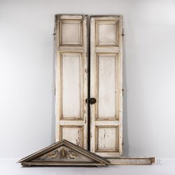 Gray-and-gilt-painted Doors and Arch