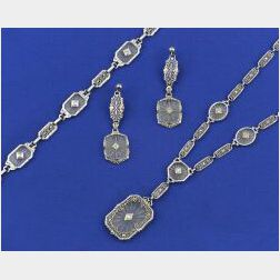 Group of Art Deco 14kt White Gold and Diamond Jewelry