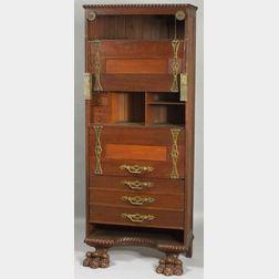 Art Nouveau Mahogany and Cast Iron Mounted Drop-front Desk