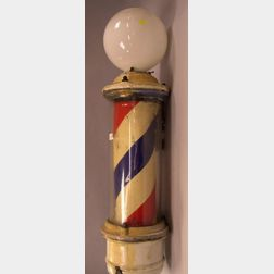 Electric Enameled Metal Wall Barber Pole.