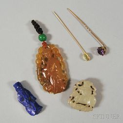 Five Hardstone and Gemstone Jewelry Items