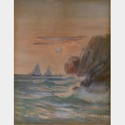 Framed Watercolor on Paper/board View of Coastal Cliffs by Otis S.   Weber (American, 19th/20th Century)