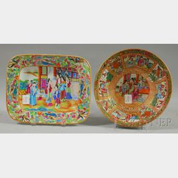 Chinese Export Porcelain Rose Mandarin Pattern Bowl and a Modern Serving Dish