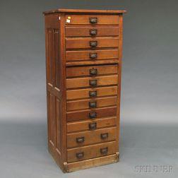 Oak Twelve-drawer File Cabinet