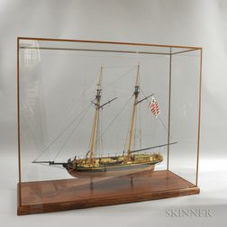 Cased Carved and Painted Wood Ship Model of the Dallas
