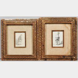 David Deuchar (Scottish, 1743-1808) and After Rembrandt van Rijn (Dutch, 1606-1669)  Two Late Impression Etchings: Beggar Lea...
