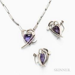 Antonio Pineda .970 Silver, Synthetic Gemstone, and Pearl Suite