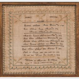Needlework Nichols Family Record