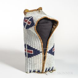 Cheyenne Beaded Cloth and Hide Model Cradle Cover
