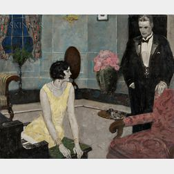 American School, 20th Century      Interior with an Elegant Couple/An Illustration for Pure Silver
