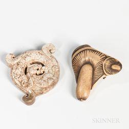 Archaic Hardstone Pendant and a Bone Netsuke