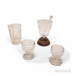 Etched Colorless Make-do Glass and Muddler, Two Salts, and a Mug.     Estimate $200-300