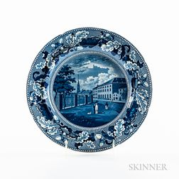 "Staffordshire Historical Blue Transfer-decorated ""Park Theatre New York"" Plate"