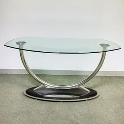 Modern Glass-top Chromed Metal Console Table