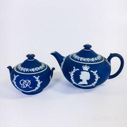 Wedgwood Dark Blue Jasper George VI Commemorative Teapot and Covered Sugar