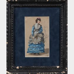 American/French School, 19th Century      Seven Works on Paper: Six Drawings of Women and a Landscape.