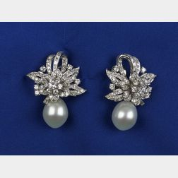 Diamond and South Sea Pearl Day/Night Ear Clips