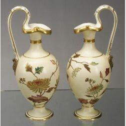Pair of Wedgwood Ivory Vellum Porcelain Ewers