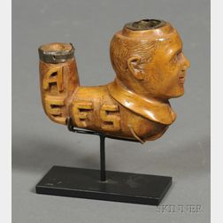 Figural Carved Wooden Pipe