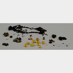 Group of Buttons, Loose Stones, and Other Assorted Jewelry