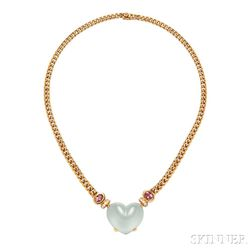 18kt Gold, Aquamarine, and Pink Tourmaline Necklace, Bulgari